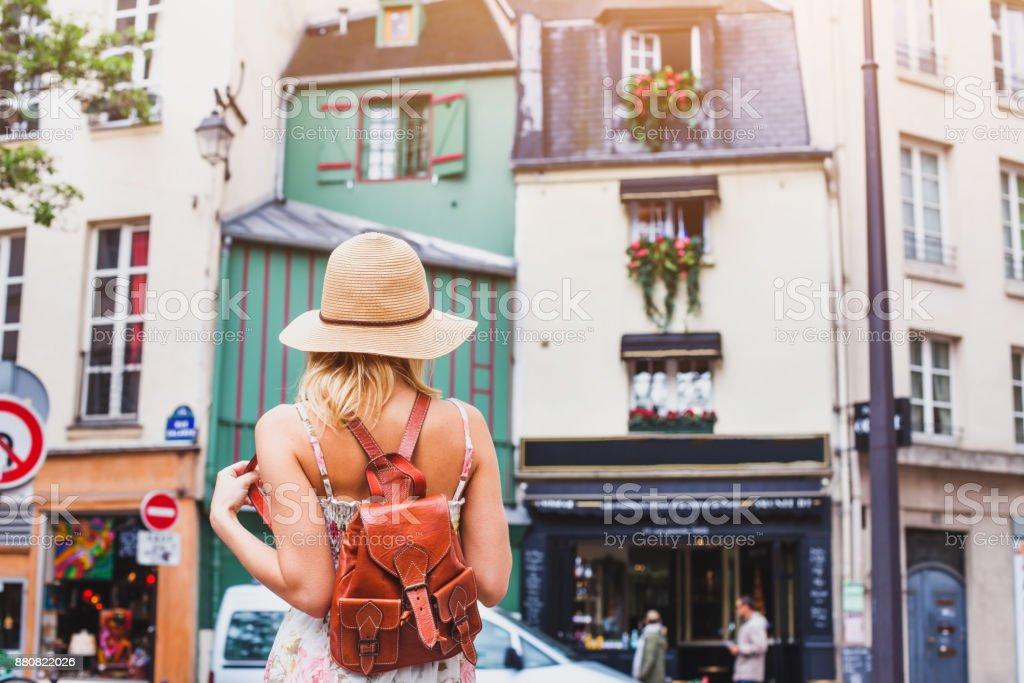 tourist in european city, summer travel, holidays stock photo