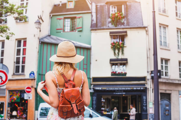 tourist in european city, summer travel, holidays - paris fashion stock photos and pictures