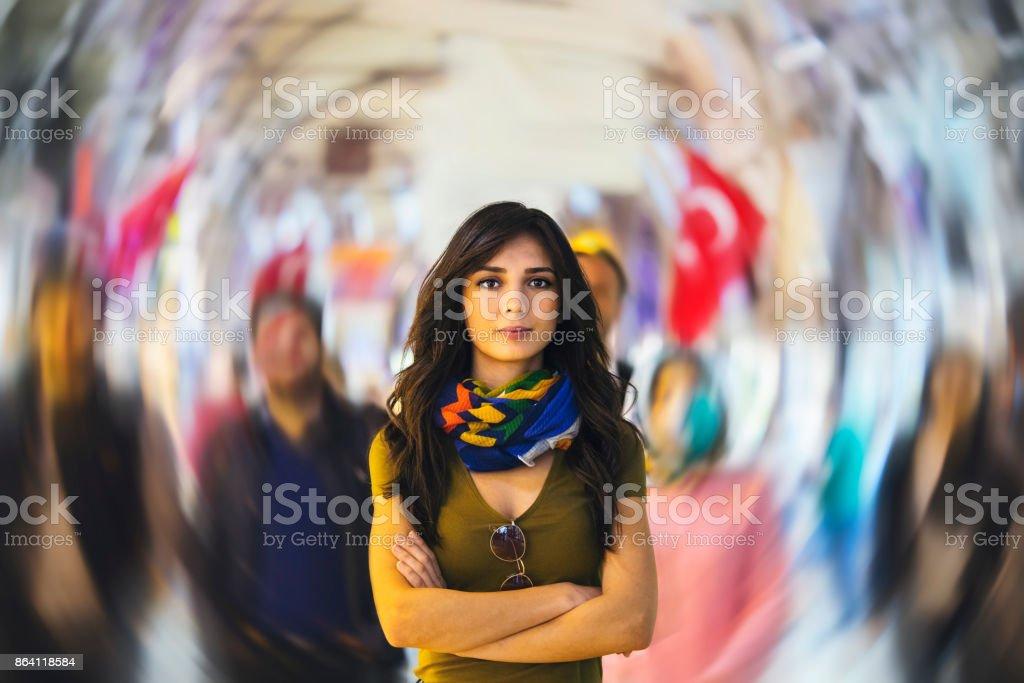 Tourist in Grand Bazaar, Istanbul, Turkey royalty-free stock photo