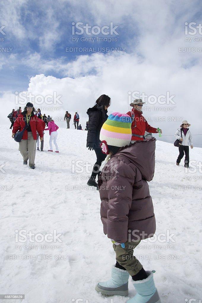 Tourist in Jungfaujoch summit royalty-free stock photo