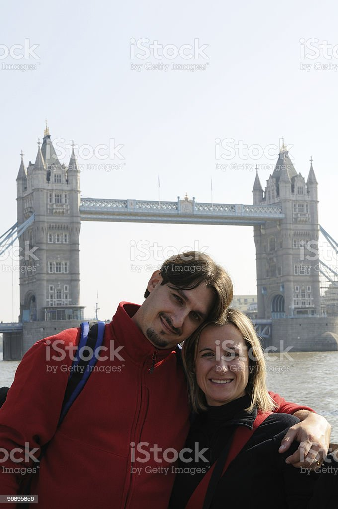 Tourist in London With Tower Bribge royalty-free stock photo