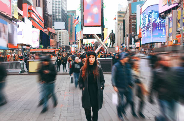 Tourist in New York, Times Square stock photo
