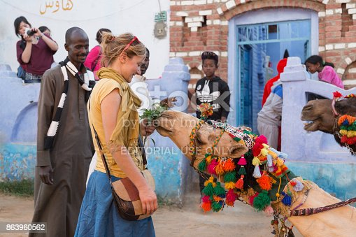 883177796istockphoto Tourist in Nubian village feeding camel. 863960562