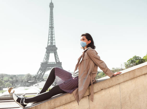 tourist in paris during the covid19 stock photo
