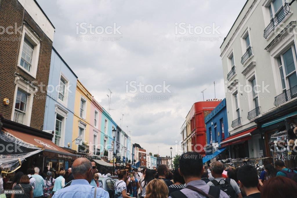 Tourist in Portobello Road stock photo