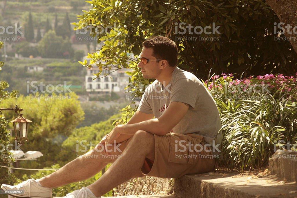 Tourist in Ravello, Italy stock photo