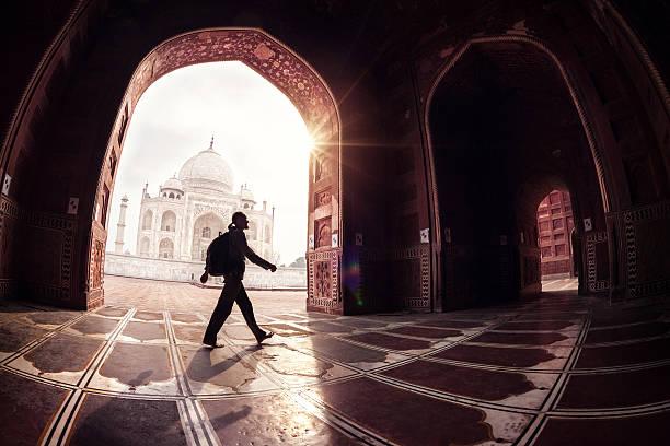 Tourist in Taj Mahal stock photo