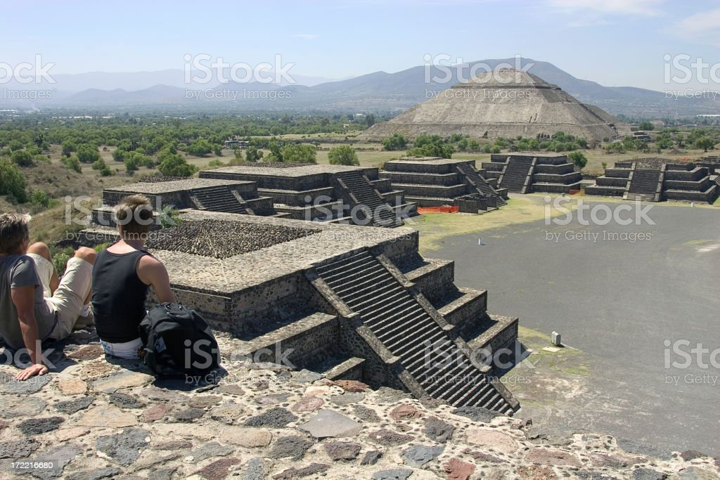 tourist in teotihuacan royalty-free stock photo
