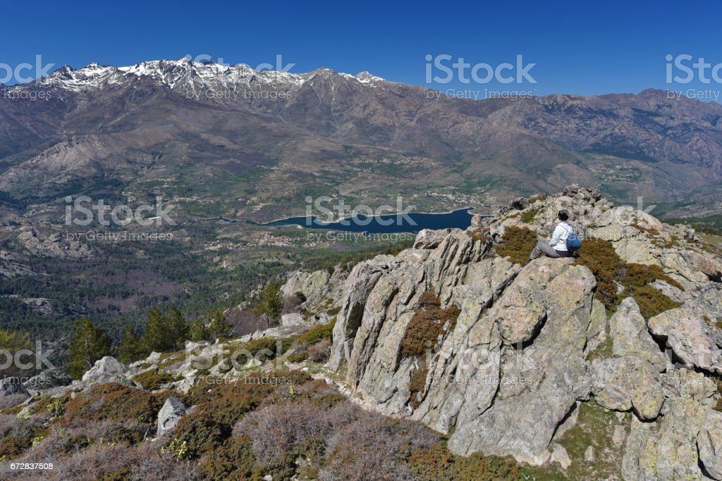 Tourist in the Corsican high mountains stock photo