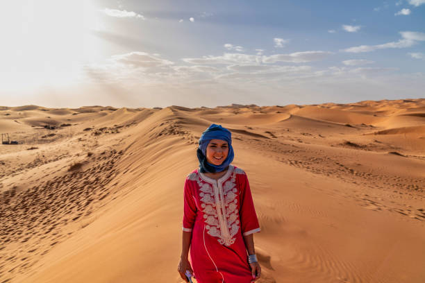 Tourist in the Sahara Desert Morocco – zdjęcie