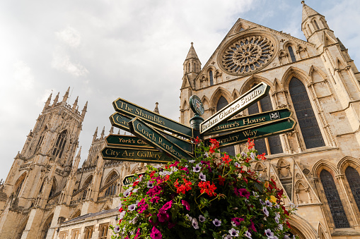Tourist information sign in front of York Cathedral