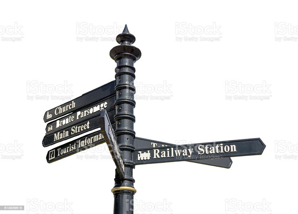 Tourist Information Sign, Haworth, Yorkshire stock photo