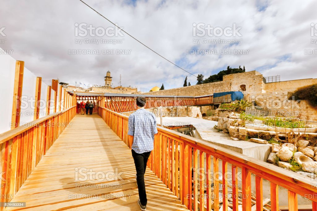 Tourist is entering Temple Mount compound in Old Jerusalem. stock photo