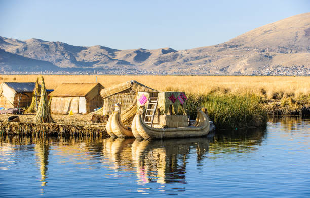 、プーノ、ペルー南米のチチカカ湖の観光の島々 - タキーレ島 ストックフォトと画像