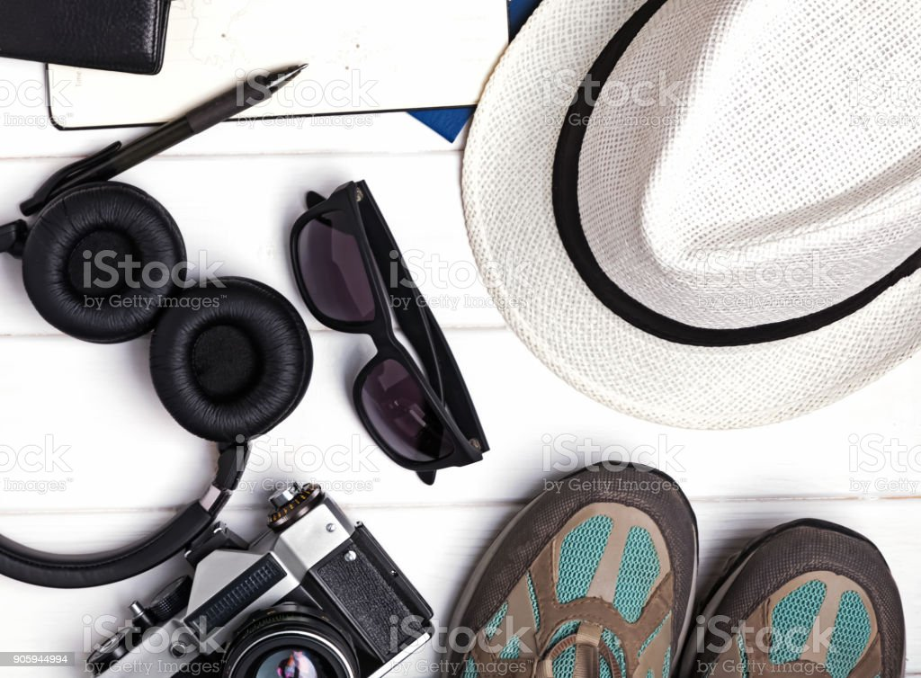 Tourist items set stock photo