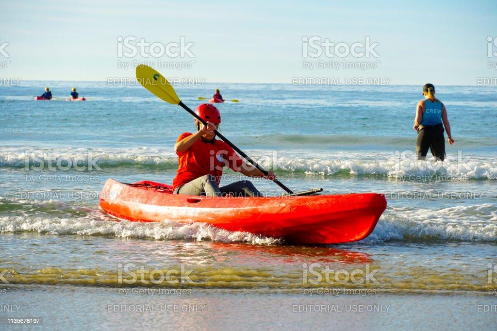 Tourist Kayaking In La Jolla Beach San Diego California Usa