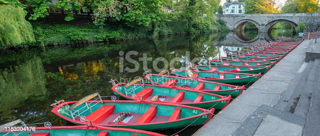tourist leisure rowing boats on the river Nidd in the market town of Knaresborough in North Yorkshire England