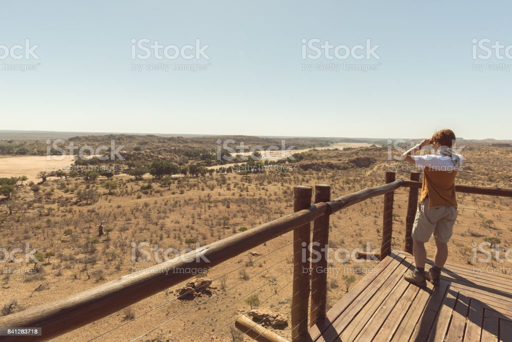 Tourist looking at panorama with binocular from viewpoint over the Mapungubwe National Park, travel destination in South Africa. stock photo
