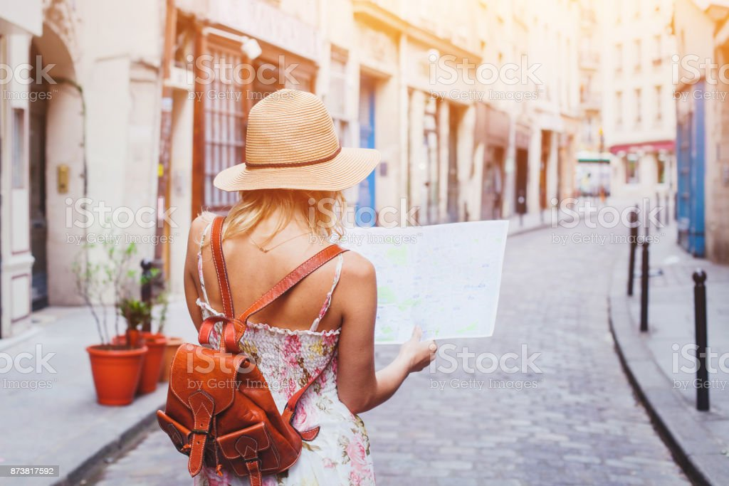 tourist looking at the map, travel to Europe stock photo