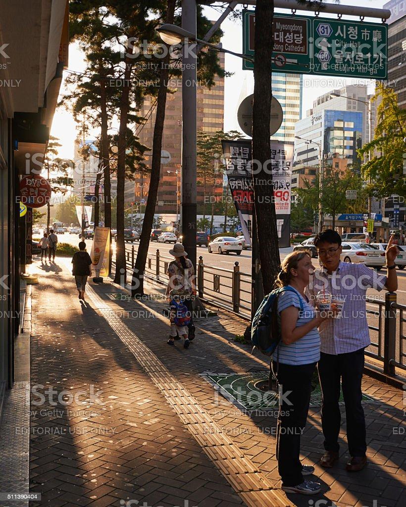 Tourist lost in South Korea stock photo