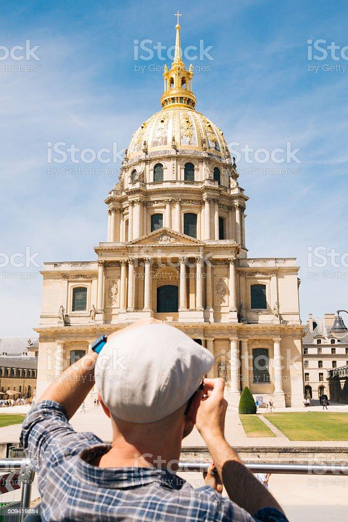 Tourist man at Les Invalides in Paris stock photo