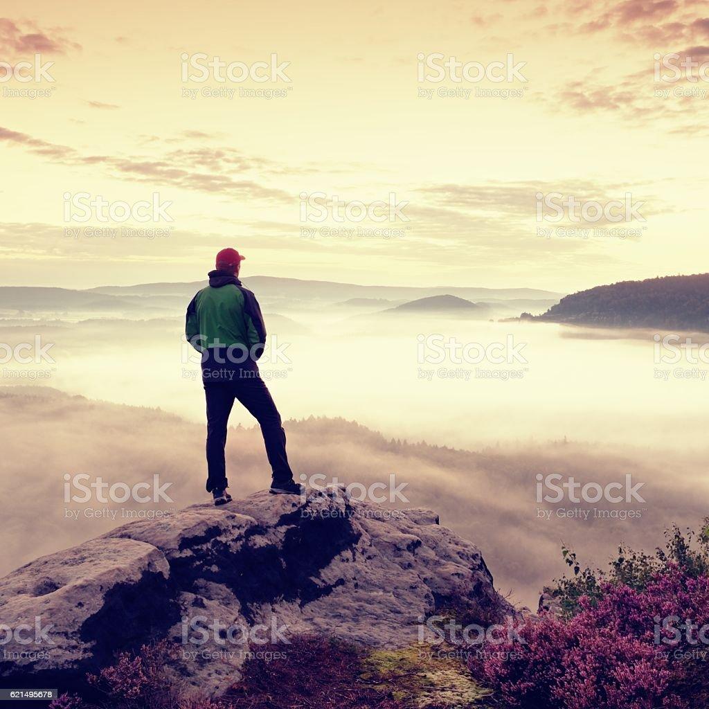 Tourist man on rock empire  watching over creamy foggy valley photo libre de droits