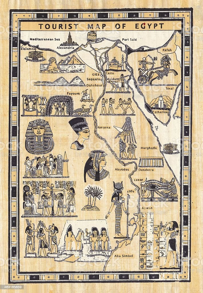 Tourist Map Of Egypt Painted On Papyrus Stock Photo More Pictures