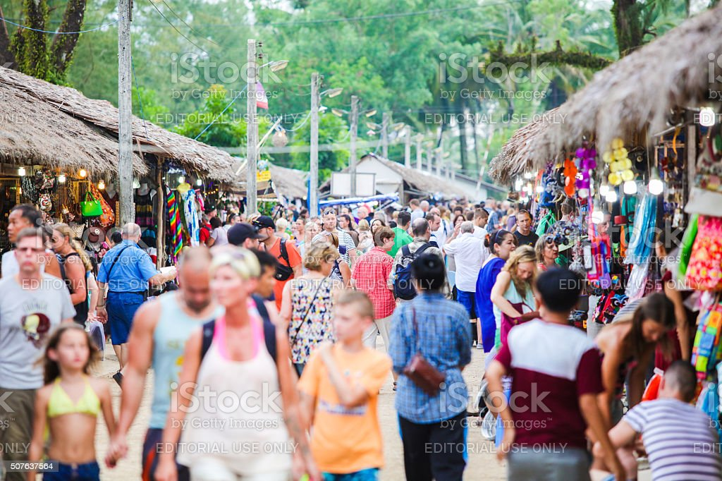 Tourist market in Khao Lak in Thailand stock photo