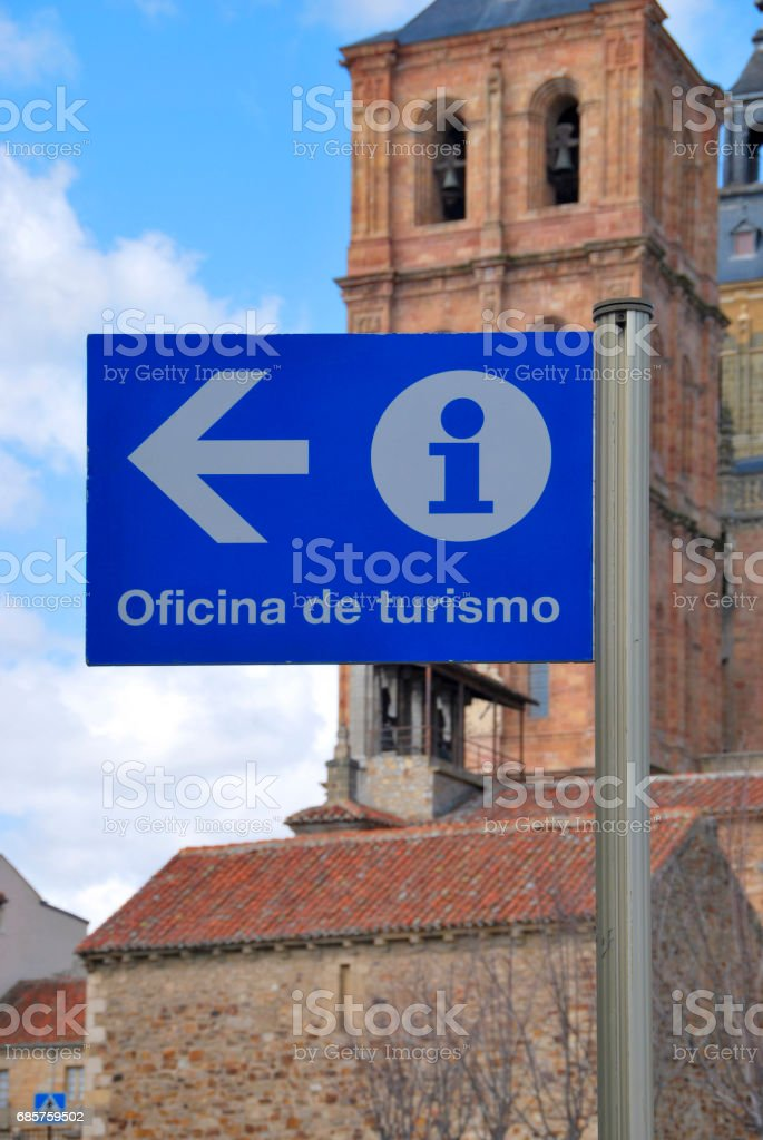 Tourist office sign in blue zbiór zdjęć royalty-free