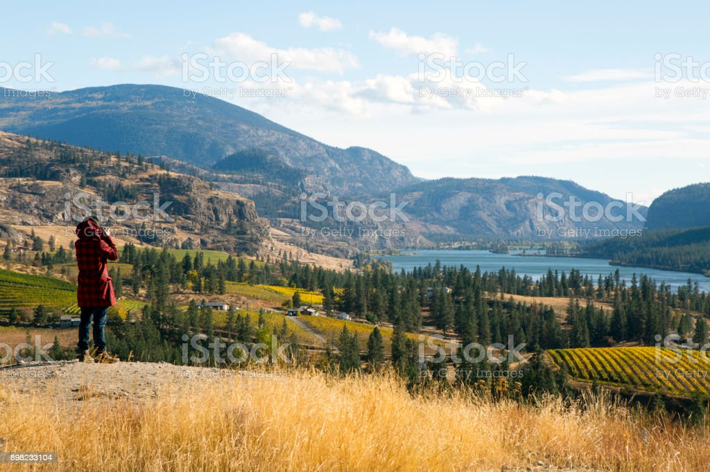 Tourist Okanagan Falls British Columbia stock photo
