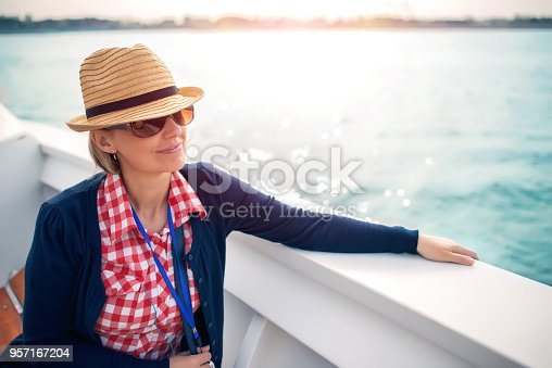 A tourist on a deck of a cruise ship