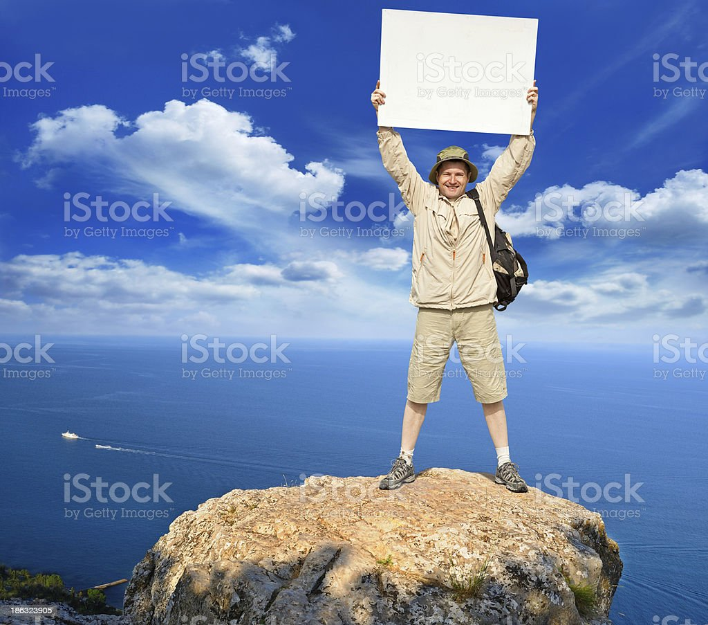 tourist on a landscape royalty-free stock photo
