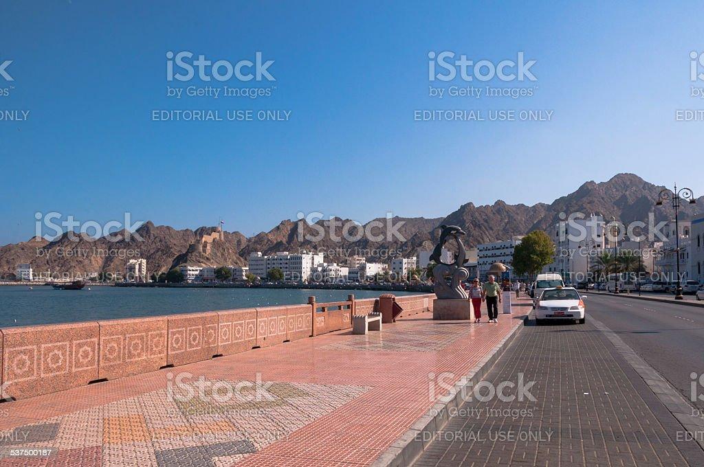 Tourist on Corniche, Muscat, Oman stock photo