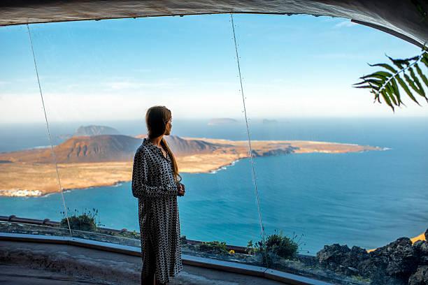 Tourist on El Rio viewpoint stock photo