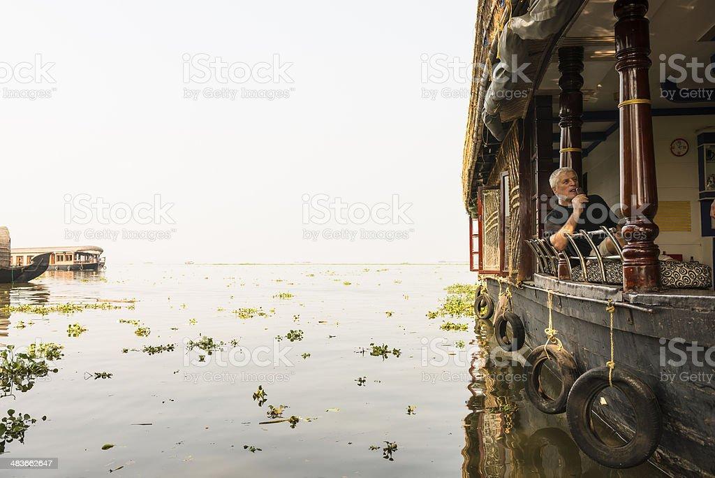 Tourist on House boat stock photo