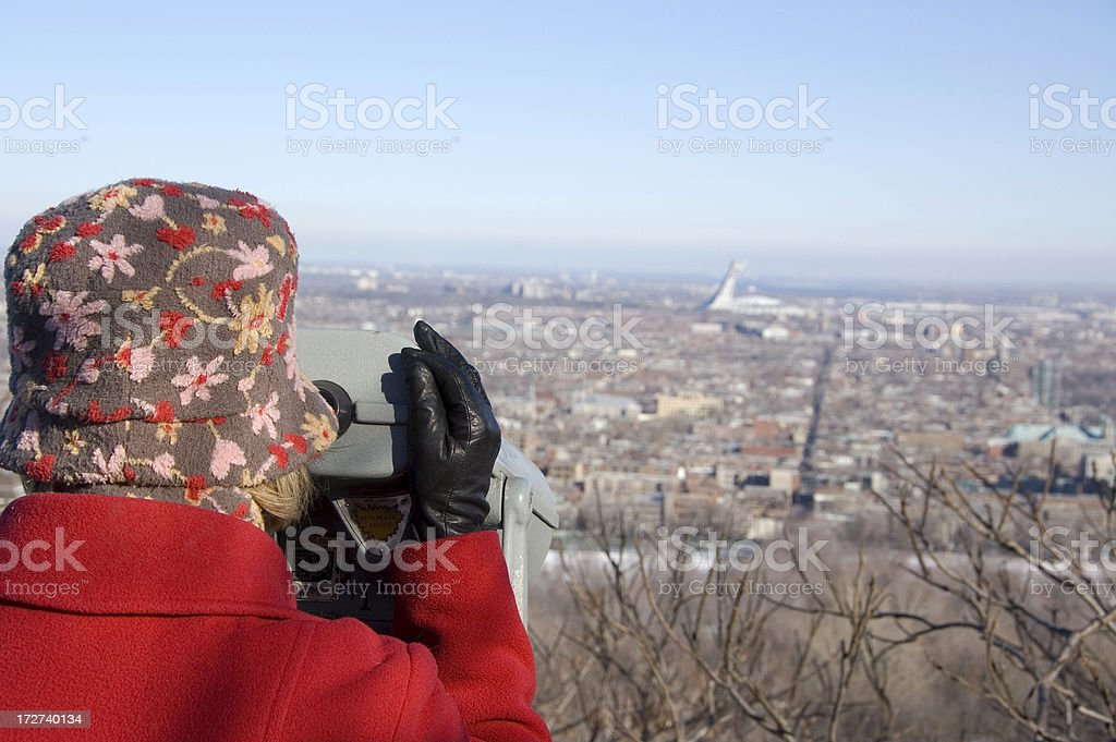 Tourist on Mount Royal in Montreal Quebec royalty-free stock photo