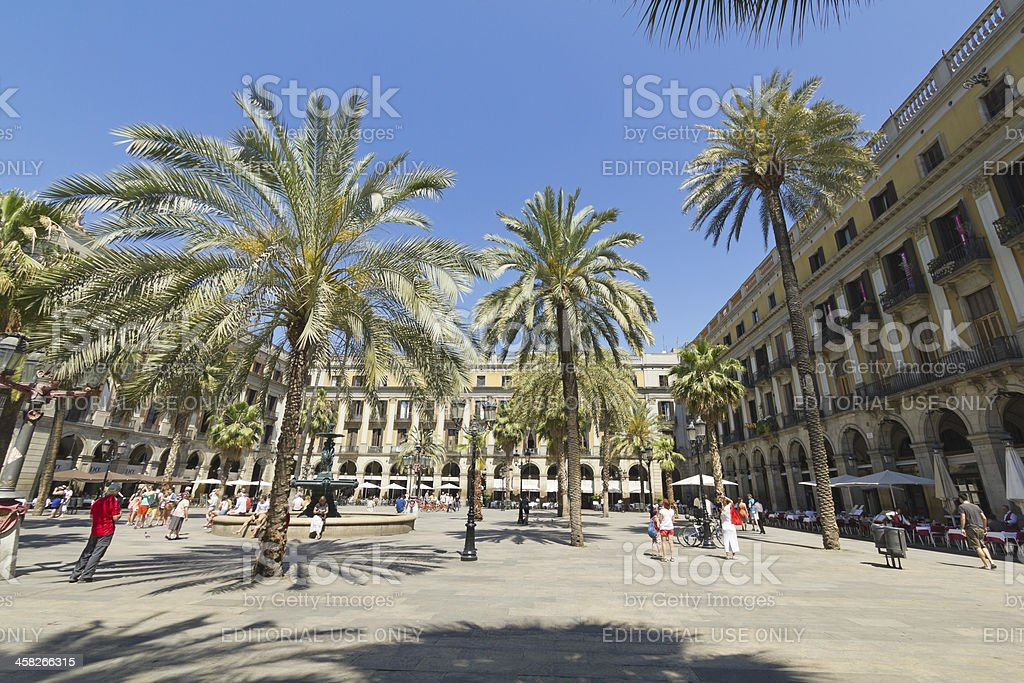 Tourist on Plaza Real in Barcelona, Spain royalty-free stock photo