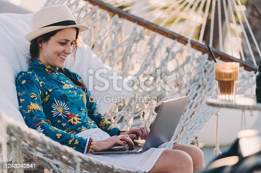 istock Tourist on summer vacation combining work and leisure 1248242841