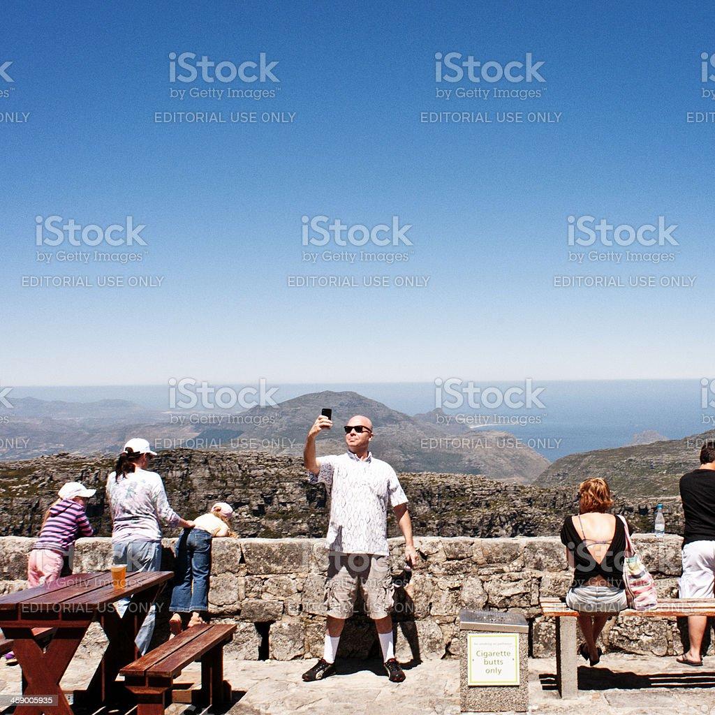 Tourist on Table Mountain royalty-free stock photo