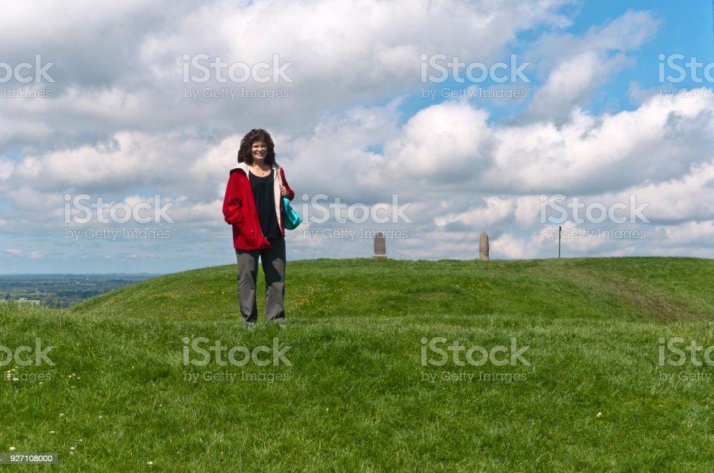 Tourist on the Hill of Tara stock photo