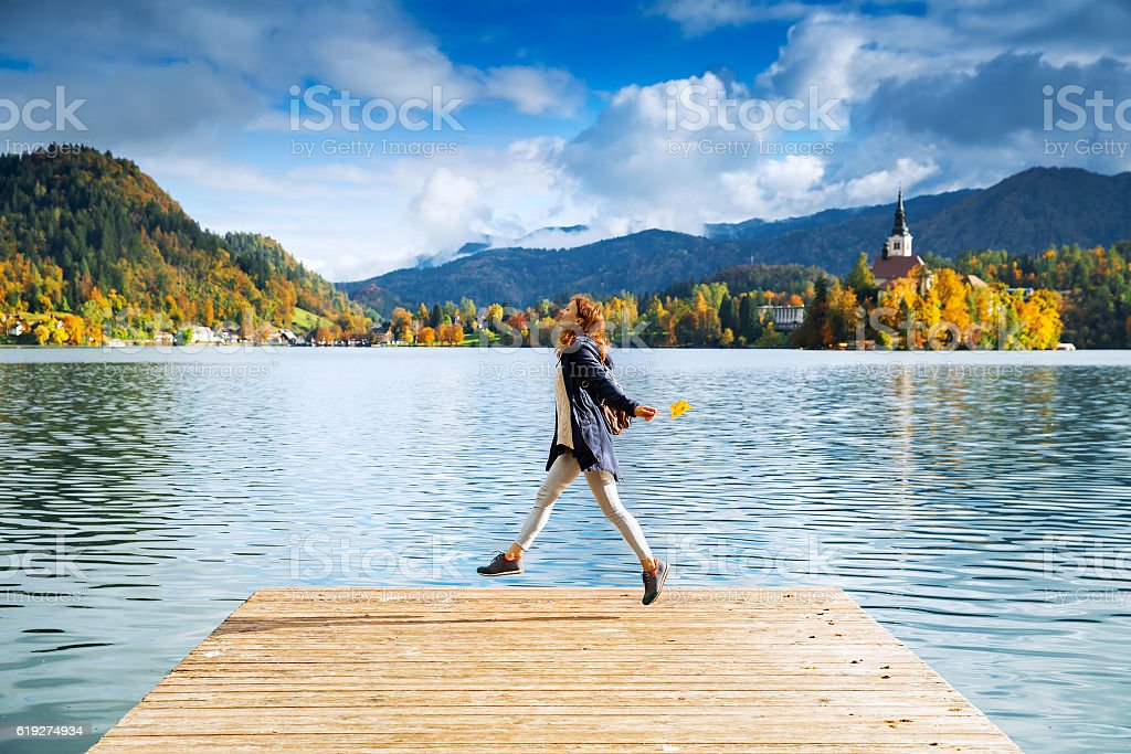 Tourist on the Lake Bled, Slovenia, Europe stock photo