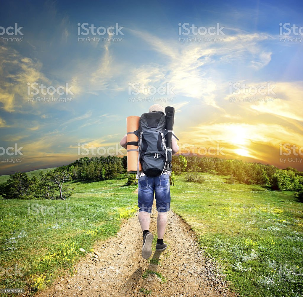 Tourist on the road stock photo