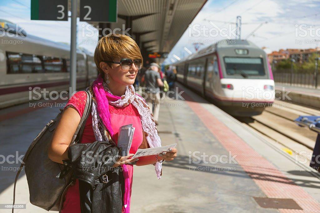 Tourist on train stock photo