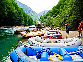 Man and woman on white water rafting on Tara River Canyon, Montenegro, Europe.