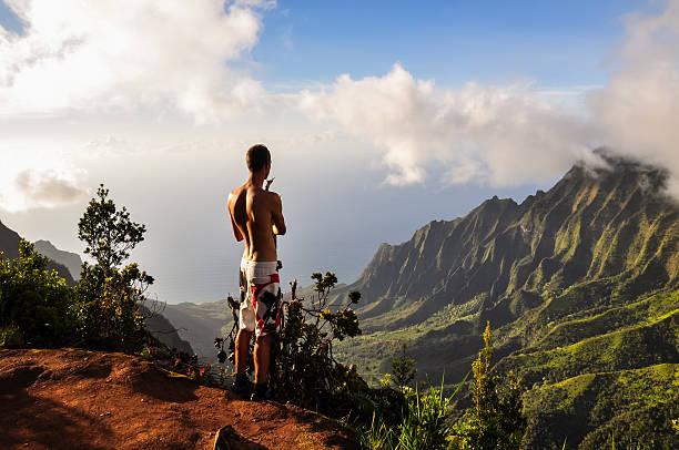 Tourist overlooking Kalalau Valley - Kauai, Hawaii stock photo