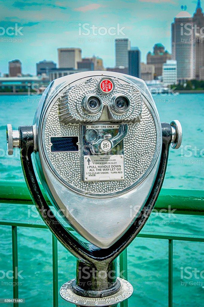 Tourist Pay per view bincoculars in Detroit, MI stock photo
