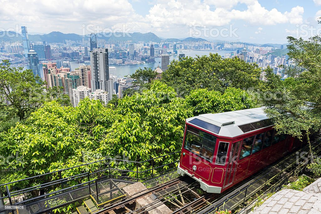 Tourist peak tram in Hong Kong royalty-free stock photo