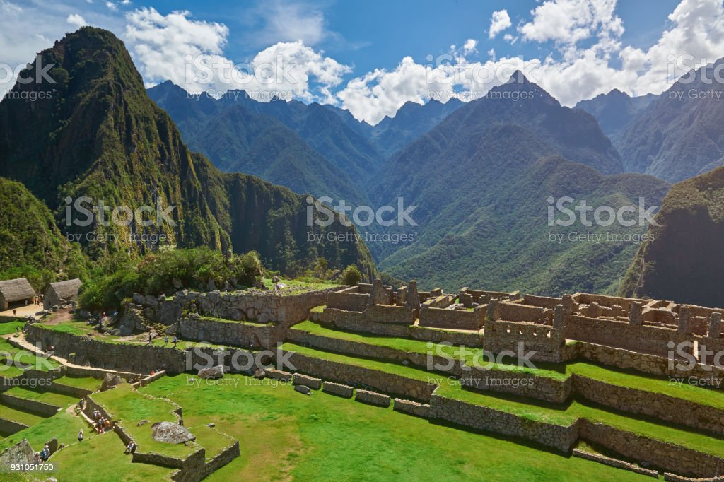 Tourist people in Machu Picchu stock photo