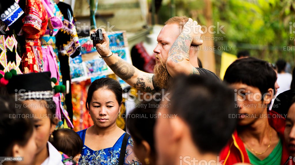 Tourist Photographer at Hmong New Year stock photo
