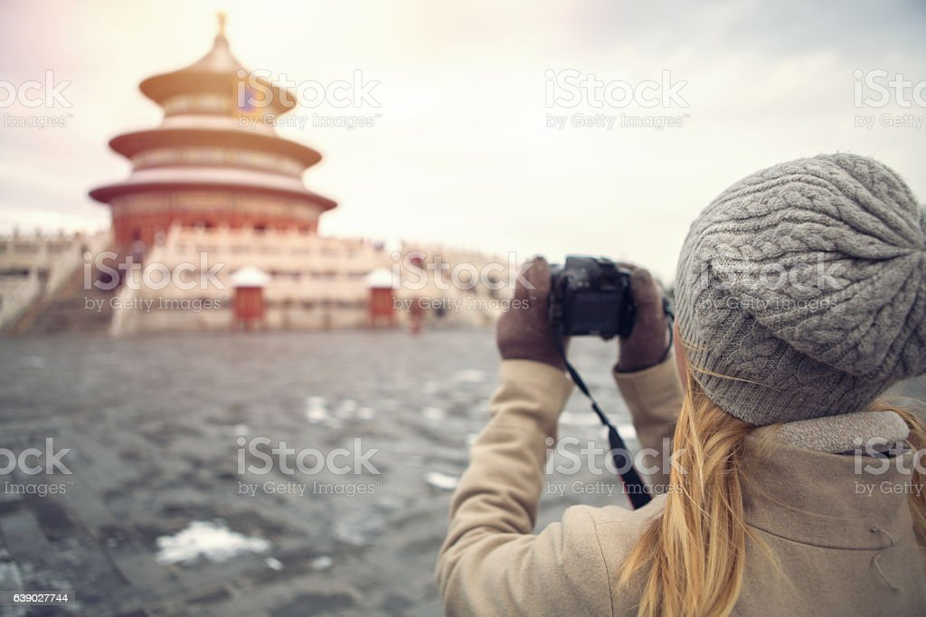 Tourist photographing the Temple of Heaven,Beijing stock photo